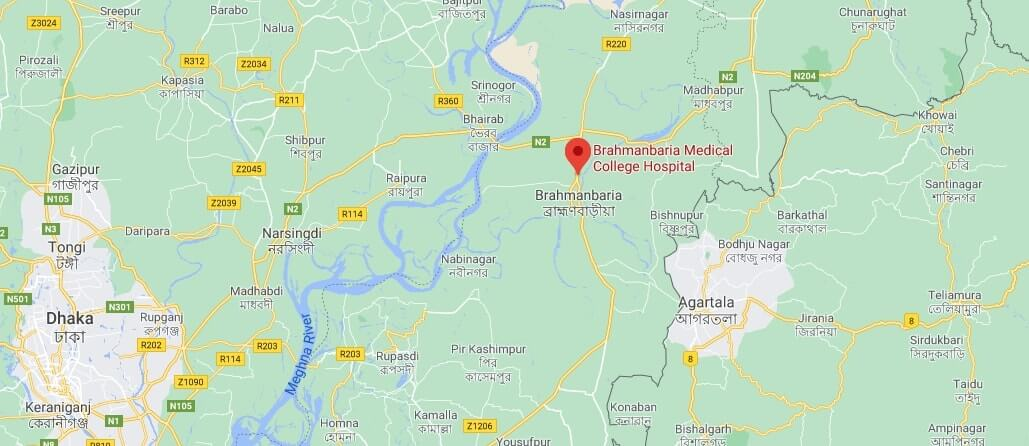 Map of Brahmanbaria Medical College